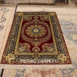 Yilong 4'x6' Antique Hand-knotted Area Rug Red Hand Woven Villa Carpet P010a