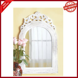 White Baroque Distressed Shabby Vintage Style Wood Bathroom Entry Wall Mirror