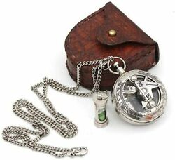 Nautical Chrome Vintage Collectible Brass Locket Sundial Compass And Leather Box