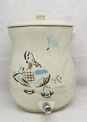 Red Wing Pottery Bob-white Pattern Water Cooler With Lid
