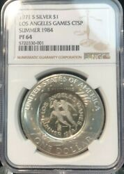 1971-s Ike 1 Ngc Pf64 Counter-stamped L.a. Games Summer 1984 Olympic Runners