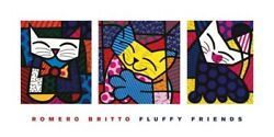 Fluffy Friends By Romero Britto Art Print Pop Cat Poster 40x20 - Out Of Print
