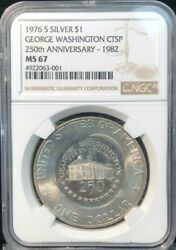 1976-s Ike 1 Ngc Ms67 1982 Counter-stamped George Washington 250th Anniversary
