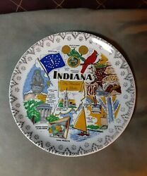 Vintage Collector Plate Indiana The Hoosier State Lakes Santa Claus Land Rare