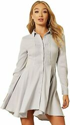 Unique 21 Women Luxe Satin Shirt Dress - Ladies Casual Work Office Long Sleeve B