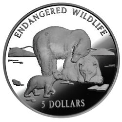 Cook Islands 5 Dollars 1996 Silver Proof And039polar Bearsand039