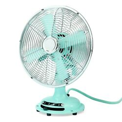 Metal Table Fan 12'' Retro 3-speed , Mint - 2 Day Delivery