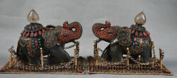 7.2 Collect Old Tibetan Crystal Filigree Coral Auspicious Elephant Statue Pair