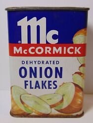 Old Vintage 1950s Mccormick Onion Flakes Graphic Spice Tin Litho Can Made In Usa