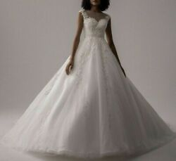 Bridal Simple Wedding Dress Cap Sleeves Scoop Court Train Lace Appliques Beading