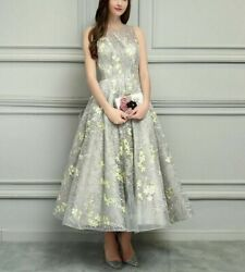Sexy Evening Weddings Dress Floral Print Open Back O Neck Ankle Length Polyester $207.99