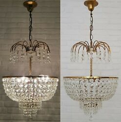 Matching Pair Of Antique Vintage Brass And Crystals Large Chandeliers Ceiling Lamp