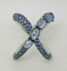 18k White Gold Knuckle To Knuckle Cross Over Sapphire Ring Size 6.75 - Lb3230
