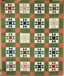 Well Quilted Vintage 1880and039s Ohio Stars Antique Quilt Beautiful 19th C. Fabrics