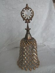 Vintage Large English Hobnail Crystal Bell With Brass Top And Gold Trim
