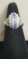 Vintage And039wband039 Weinman Bros 14k White Gold Oval Tanzanite And Round Diamonds Ring