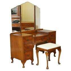 Vintage Burr Walnut Dressing Table And Stool With Trifold Mirrors Part Of Suite