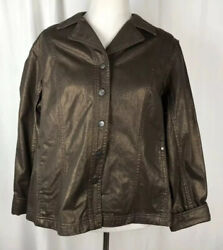 Coldwater Creek Brown Metallic Jean Jacket Women's 18w Beautiful New With Tags