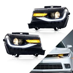For 2014 2015 Camaro Dual Beam Projector Led Drl Bar Sequential Turn Headlights
