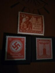 Ww2 Nazi 3rd Reich Stamp1943 Red Swastica Offical Use Eagle Column 24+26