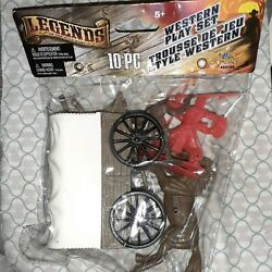 Toy New Legends Western Play Set Covered Wagon Indians Cowboys Horse