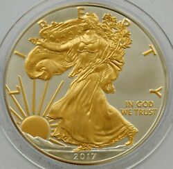 2017 American Silver Eagle 1oz Silver Coin With 24k Gold Gilded Proof Like