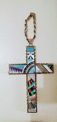 Native American Signed Phillip J Morse Chippewa Sterling Silver And Inlaid Cross