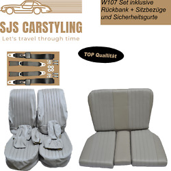 Seat Covers + Back Seat + Seat Belts Grey For Mercedes Sl R/w107