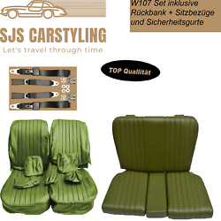 Seat Covers + Back Seat + Seat Belts Green For Mercedes Sl R/w107
