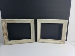 Vintage Off White Wood Picture Frame Lot 2 Recycle Deco Farmhouse Set