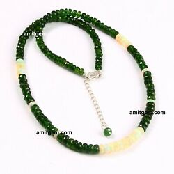 Ethiopian Opal Chrome Diopside Beads Necklace 925 Sterling Silver Lobster -124