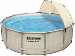 Bestway 13 Foot X 42 Inches Power Steel Frame Above Ground Swimming Pool Set
