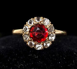 Antique Late Georgian English 14k Yellow Gold Clear Red Ruby Paste Floral Ring S
