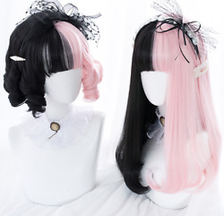 Synthetic Black Mix Pink Fashion Anime Curly Straight Hair Costume Party Lolita