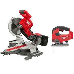 Miter Jig Saw Dual Bevel Sliding Compound 10 Inch Brushless Cordless Red 18 Volt