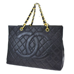 Auth Cc Gst Quilted Chain Hand Bag Caviar Leather Black Vintage 686lb186