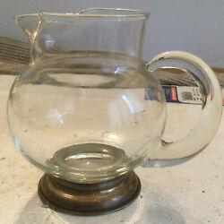 Clear Glass Creamer Dish With Sterling Base 5.5andrdquo