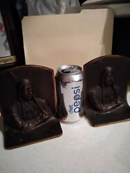 Antique Bronze Bookends Indian With Pipe