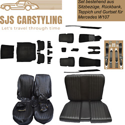 Seat Covers + Back + Carpet With Insulation + Belts Black For Mercedes Sl R/w107