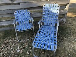 Vintage Folding All Aluminum Beachy Clean Chaise Lounge And Matching Chair