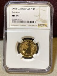 2021 Great Britain 1/4 Gold Coin Bullion Graded Pmg Ms69 25 Pounds