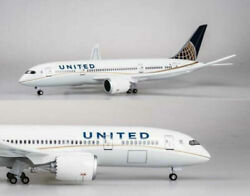 Usa 1/130 United Airlines Boeing B787 Replica Airplane Plane Toy Led Voice Light