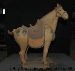 18.4 Antique Chinese Ceramics Dynasty Palace Stand Tang Horse Steed Sculpture