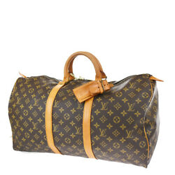 Auth Louis Vuitton Keepall 50 Hand Bag Monogram Leather Brown M41426 70bs090