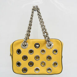 Prada Grommet Chain Womenand039s Leather Shoulder Bag Yellow Fvel000054
