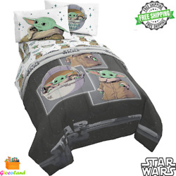 Star Wars The Mandalorian Child 4 Piece Twin Bed Soft Set Comforter And Sheet Set