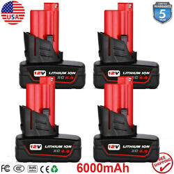 4x 3.0ah For Milwaukee M12 12 Volt Xc 6.0 Extended Capacity Battery 48-11-2460