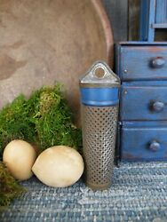 Primitive Early Antique Dark Tin Nutmeg Grater Cupboard Blue Paint Germany