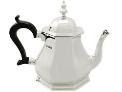 Antique George V Queen Anne Style Sterling Silver Teapot