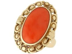 Antique German Circa 1930 Coral And 14k Yellow Gold Dress Ring